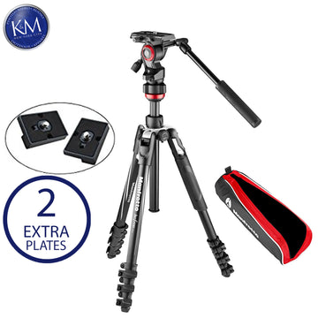 Manfrotto Befree Live Aluminum Lever-Lock Tripod Kit with Case and Two Replacement Quick Release Plates.