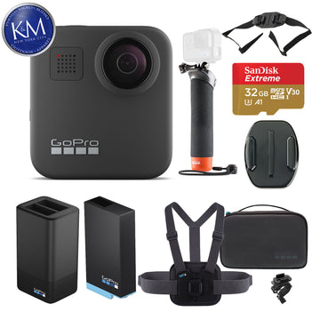 GoPro Max 360 Action Camera with Sports Kit + Handler + Dual Charger + Vented Helmet Strap Mount