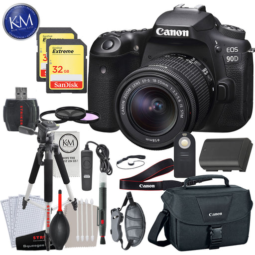 Canon EOS 90D DSLR Camera with 18-55mm Lens with Deluxe Striker Bundle: Includes- Memory Card, Extra Battery, Large Tripod, Handstrap, Large Bag, and Striker Starter Kit