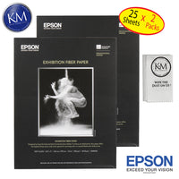 "Epson Exhiition Fier Paper 8.5""x11"" 25 Sheets - 2 Pack"