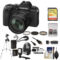 FUJIFILM X-S10 Mirrorless Digital Camera with 18-55mm Lens with 64GB SD Card + VidPro XM8 Microphone + Video Light + Sling Camera Strap + Extra Battery & Charger + Camera Bag + Tripod