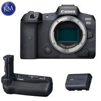Canon EOS R5 Mirrorless Digital Camera (Body) with BG-R10 Battery Grip & Extra Canon LP-E6NH Battery Bundle