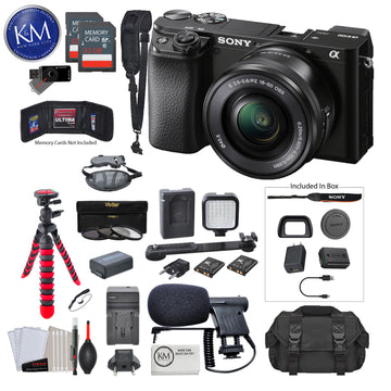 Sony Alpha a6100 Mirrorless Digital Camera with 16-50mm Lens with Premium Bundle: Includes – 12 Inch Tripod, Flash, Lens Filters, and Microphone
