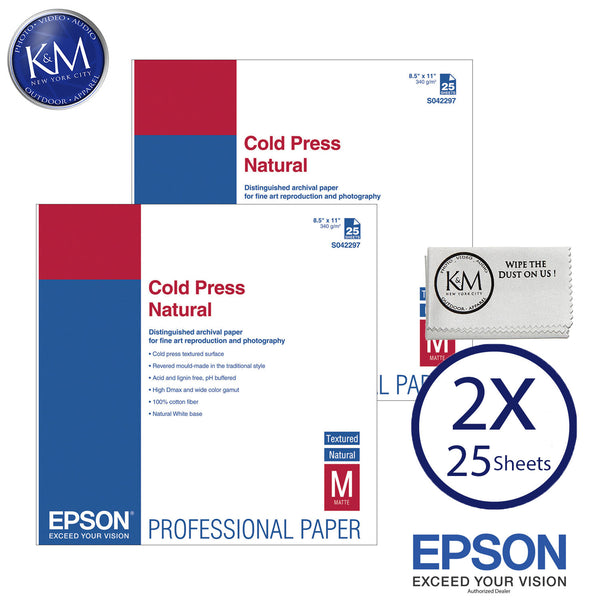 "Epson Cold Press Natural Paper (8.5 x 11"", 25 Sheets) 2 PACK"