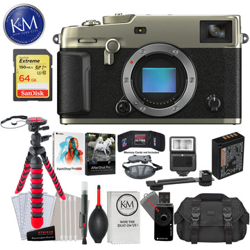 Fujifilm X-Pro3 Mirrorless Digital Camera (Body Only, Dura Silver) with 64GB Extreme SD Card, Corel After Shot Pro 3, Corel Paintshop Pro, DSLR Gadget Bag, Flexible Tripod, Hand Strap, Cleaning Kit