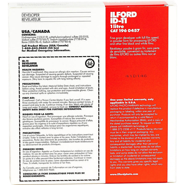 Ilford ID-11 Powder Film Developer for Black & White Film - Makes 1 Liter