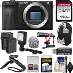 Sony Alpha A6600 Mirrorless Digital Camera Body with 128GB Card + Battery & Charger + Backpack + Grip/Tripod + Video Light + Mic + Kit