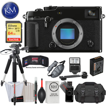 Fujifilm X-Pro3 Mirrorless Digital Camera (Body Only, Black) with 64GB Extreme SD Card, DSLR Gadget Bag, Large Tripod, Hand Strap, Cleaning Kit