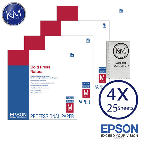 "Epson Cold Press Natural Paper (13 x 19"", 25 Sheets) 4 PACK"