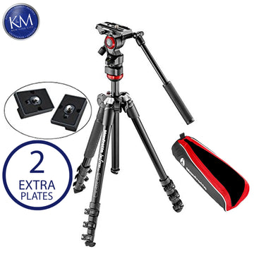 Manfrotto MVKBFR-LIVEUS lightweight, travel friendly Be Free Fluid Video Kit, Black and Two Replacement Quick Release Plates.