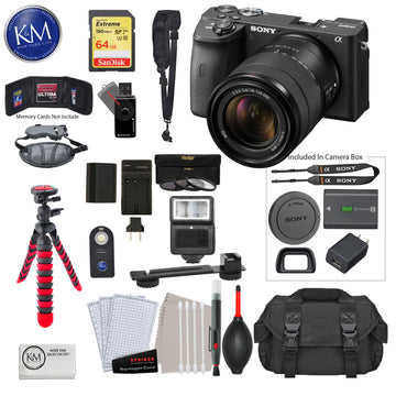 Sony Alpha a6600 Mirrorless Digital Camera with 18-135mm Lens with Deluxe Bundle: Includes – Sandisk Extreme Card, Spare NPFZ100 Battery, Charger for NPFZ100, and 12 inch tripod