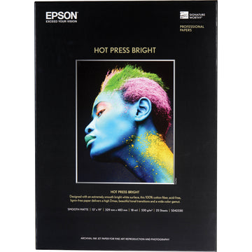 "Epson Hot Press Bright Paper | 13 x 19"" - 25 Sheets"