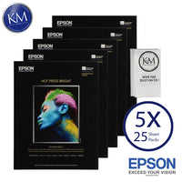 "Epson Hot Press Bright Paper (8.5 x 11"", 25 Sheets)  5 PACK"