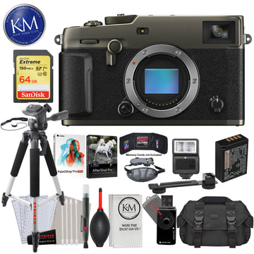 Fujifilm X-Pro3 Mirrorless Digital Camera (Body Only, Dura Black) with 64GB Extreme SD Card, Corel After Shot Pro 3, Corel Paintshop Pro, DSLR Gadget Bag, Large Tripod, Hand Strap, Cleaning Kit