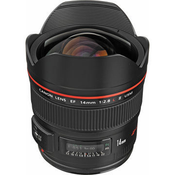 Canon EF 14mm f/2.8L II USM Lens with Advance Striker Bundle: Includes – SD Card Reader, 3pc Filter Set, Cleaning Kit, Large Monopod, and Lens Pouch.