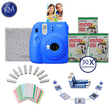 FUJIFILM INSTAX Mini 9 Instant Film Camera (Cobalt Blue) with Memories Bundle: Includes – 30 FRESH Exposures, Magnetic Glitter Pegs, Hanging Wooden Holder, 20 Frame Stickers, and a photo album