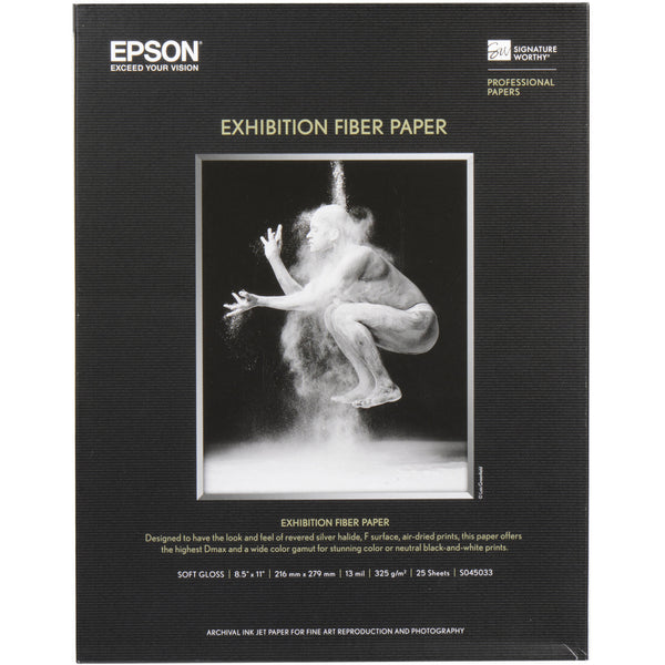 "Epson Exhibition Fiber Glossy Inkjet Photo Paper 8.5 x 11"" - 25 Sheets"