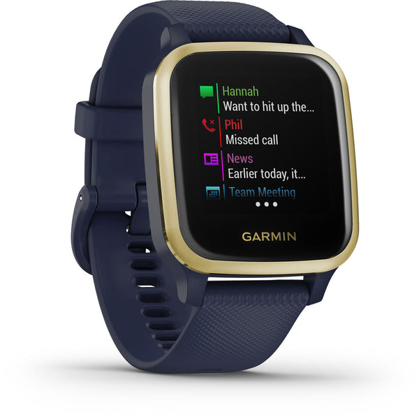 Garmin Venu Sq Music Edition GPS Smartwatch (Light Gold Bezel, Navy Case, Silicone Band)