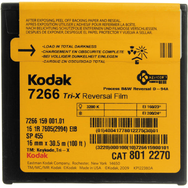 Kodak TRI-X Reversal Film 7266 / SP455 / 16 mm x 100 ft roll / Camera Spool / Winding B / 1R-2994