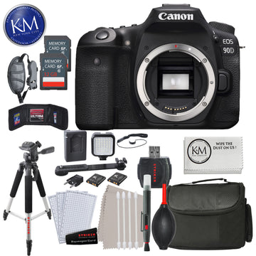 Canon EOS 90D DSLR Camera (Body Only) with 32GB & Advance Striker Bundle: Includes – DSLR Handstrap, MinI LID Light Kit, Large Tripod, Large Camera Bag, and Striker Cleaning Kits.