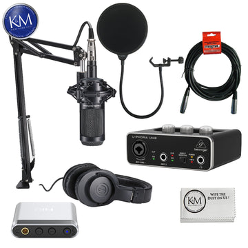 Audio Technica AT2035PK Streaming/Podcasting Pack with Pop Filter, Portable Headphone Amplifier and USB Audio Interface: Includes – AT2035 Microphone, ATH-M20x Headphones, and Studio Boom Arm