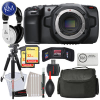 Blackmagic Design Pocket Cinema Camera 6K (Canon EF) with Advance Bundle: Includes Headphones, Large Bag, Large Tripod, Striker Cleaning Kit, 32GB Memory Card x 2
