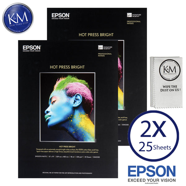 "Epson Hot Press Bright Paper (13 x 19"", 25 Sheets) 2 PACK"