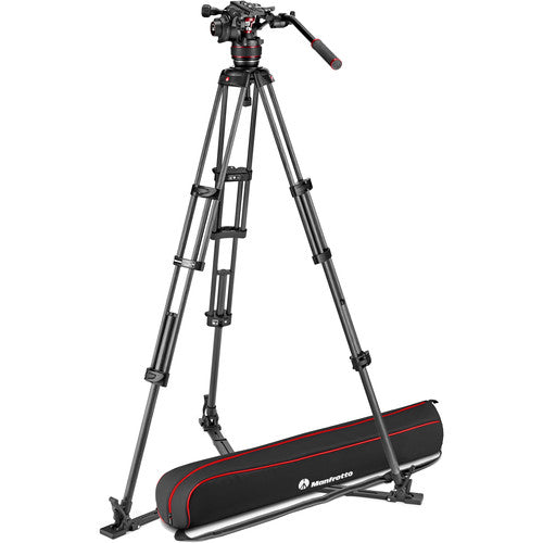 Manfrotto 608 Nitrotech Fluid Video Head and Carbon Fiber Twin Leg Tripod with Ground Spreader