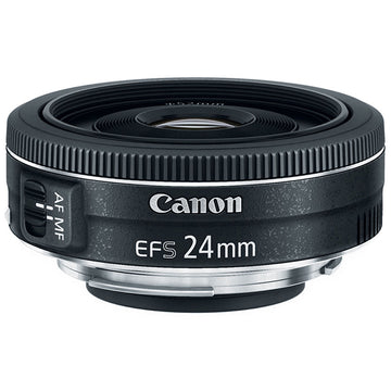 Canon EF-S 24mm f/2.8 STM Lens with Essential Striker Bundle: Includes – SD Card Reader, UV Filter, Cleaning Kit, and Lens Pouch.
