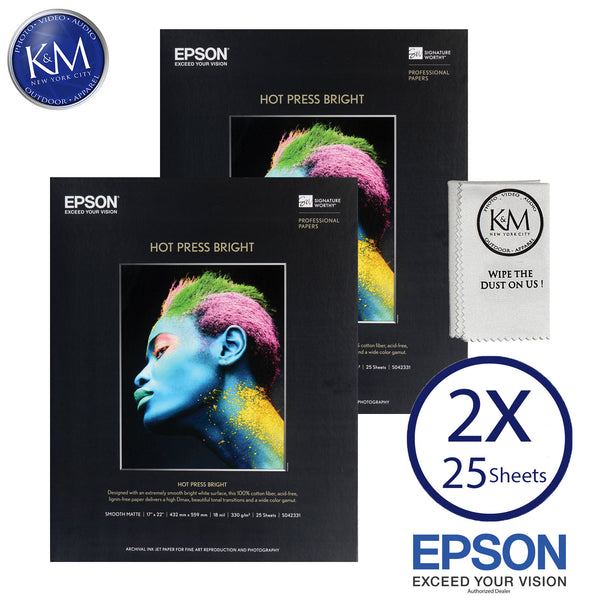 "Epson Hot Press Bright Paper (17 x 22"", 25 Sheets)  2 PACK"