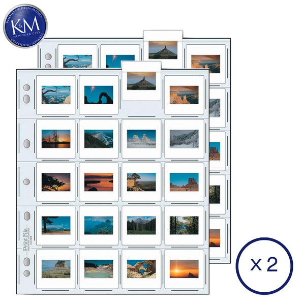 Print File 35mm Size Top-Load Archival Storage Pages for Slides | Holds 20 Slides (Binder Only) - 25 Pack x 2