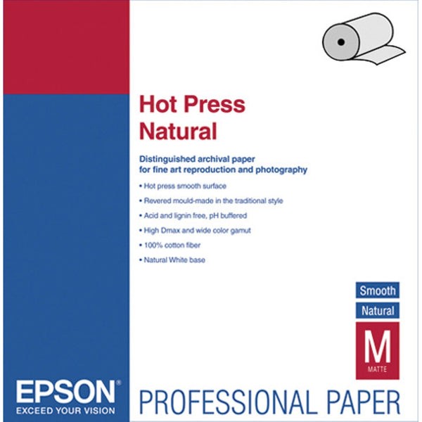 "Epson Hot Press Natural Matte Inkjet Photo Paper 17"" x 50' - Roll"