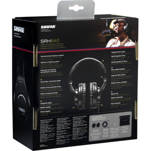 Shure SRH840 Closed-Back Over-Ear Professional Monitoring Headphones - New Packaging