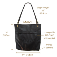 MARY Black Leather Tote