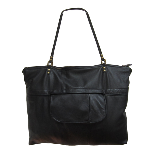 ZOE BLACK Zippered Leather Tote