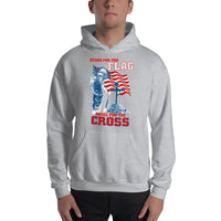 Hooded pullover Stand For The Flag Kneel For The Cross