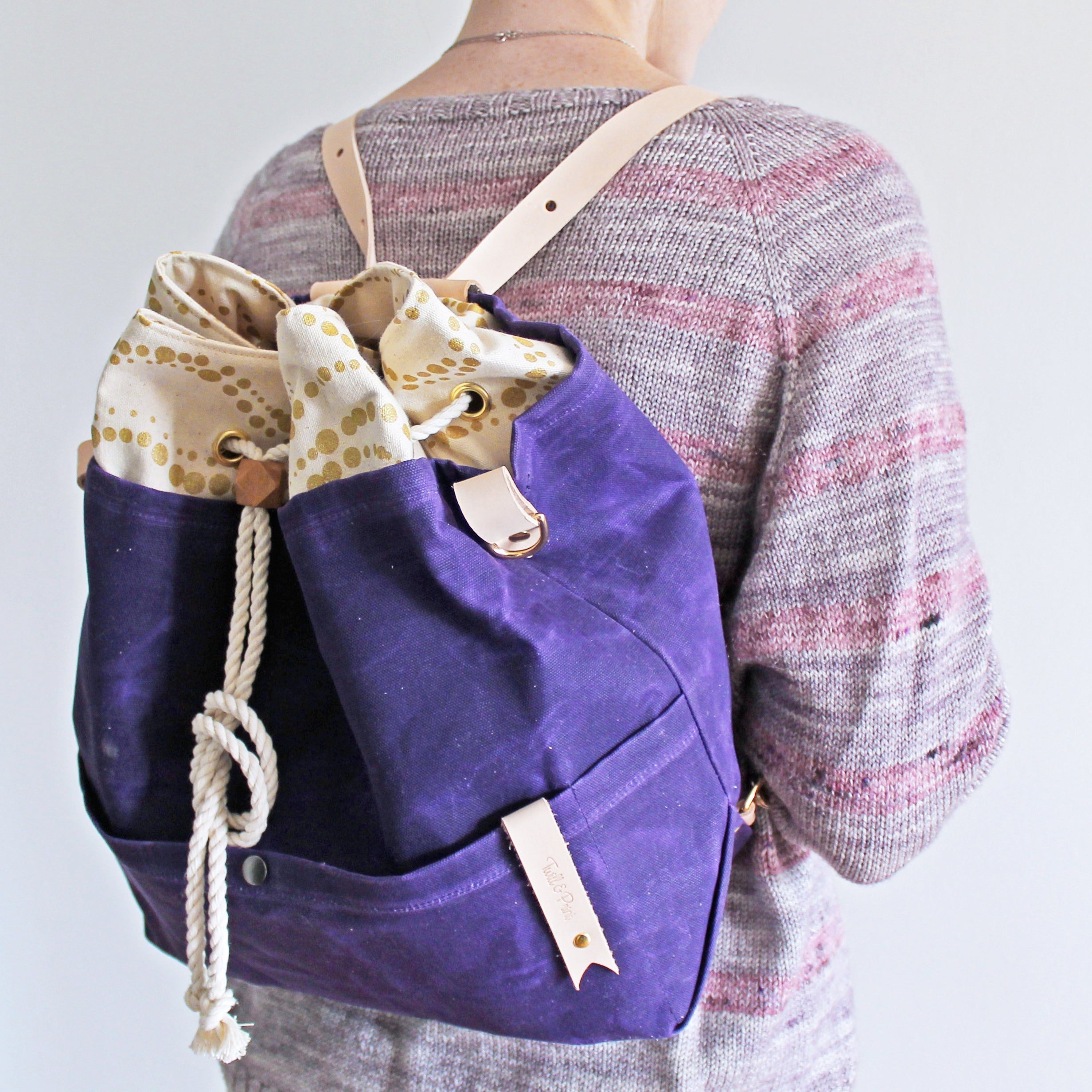 Custom Mamma Bear Convertible Backpack *Amethyst Waxed Canvas*