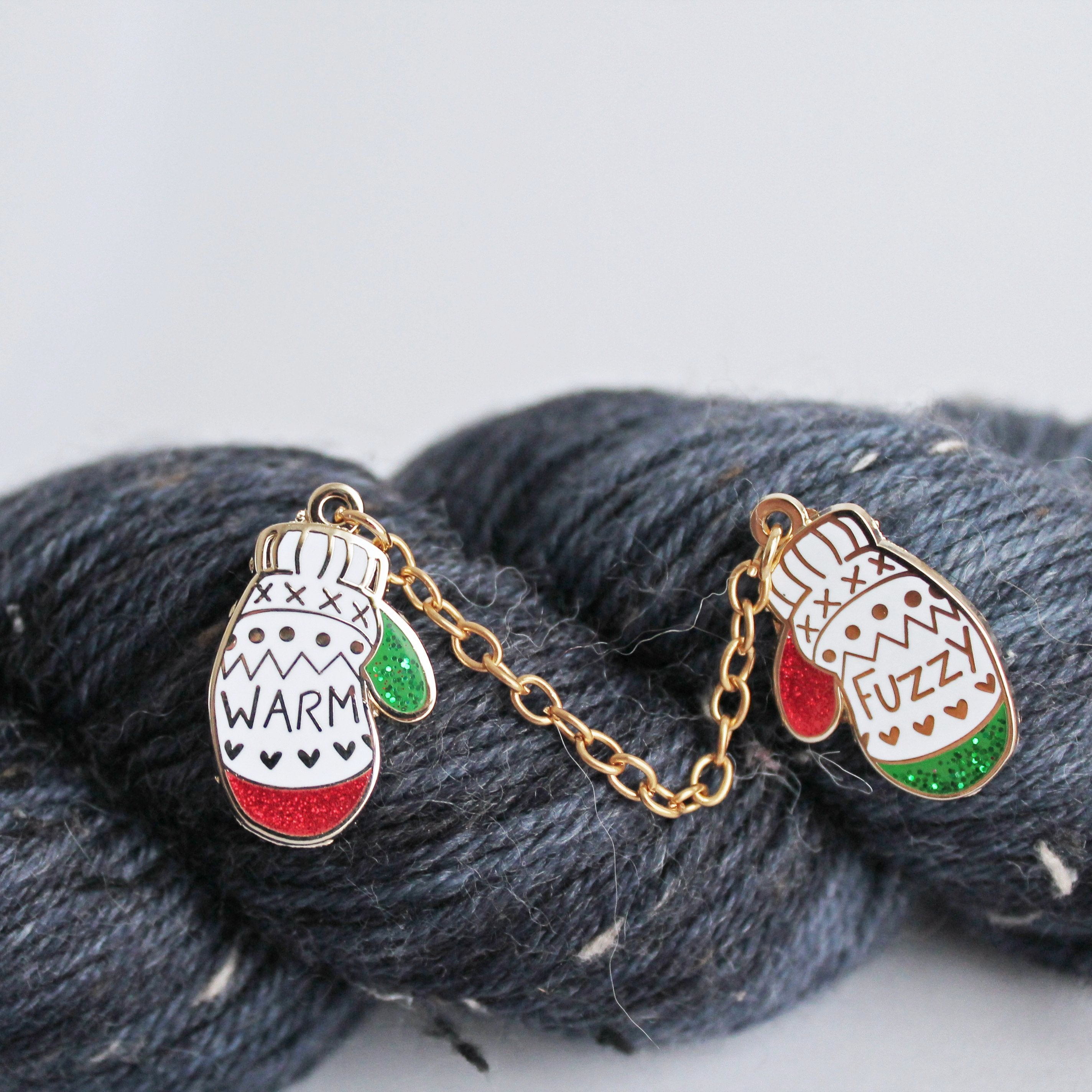 Holiday Edition 'Warm & Fuzzy' Mittens Enamel Pin