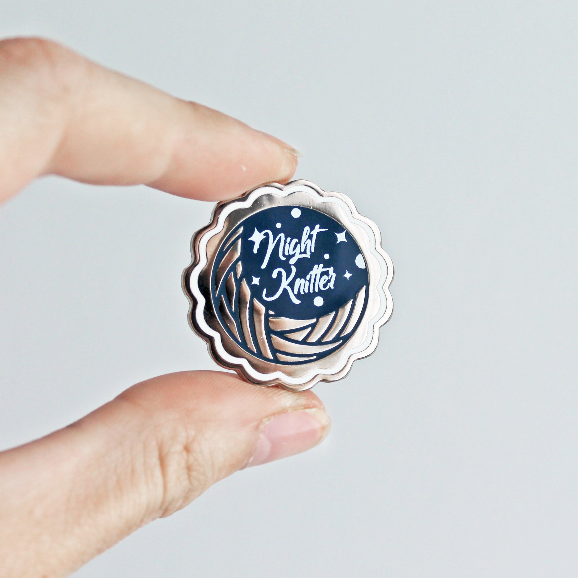 Night Knitter Enamel Pin