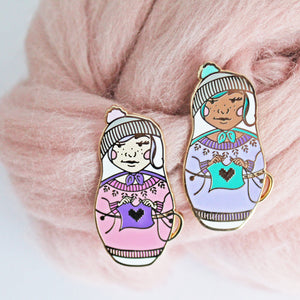 Russian Doll Enamel Pin - Two Skin Tones!