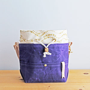 Custom Drawstring Project Bag *Amethyst Waxed Canvas*
