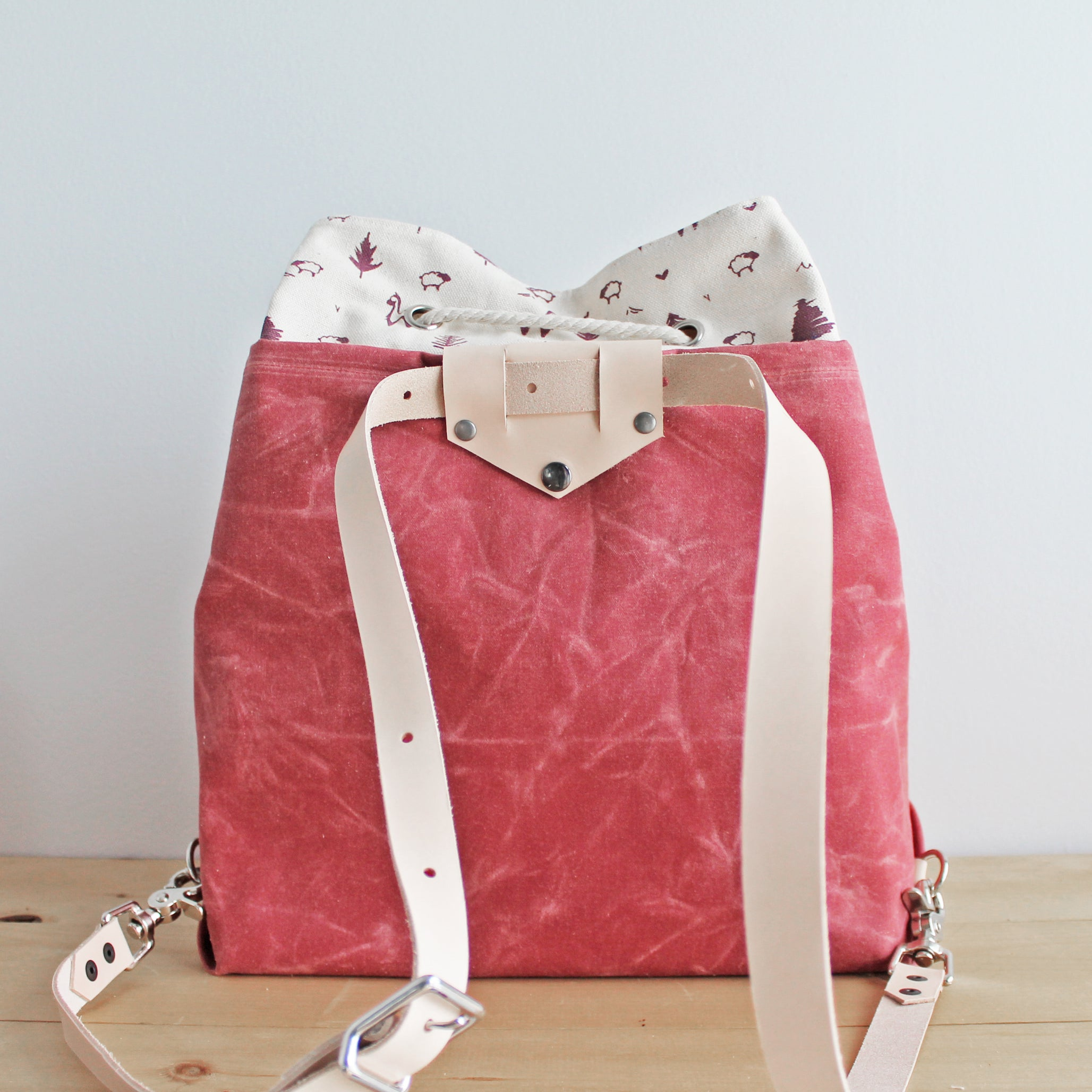 Custom Mamma Bear Convertible Backpack *Red Waxed Canvas*