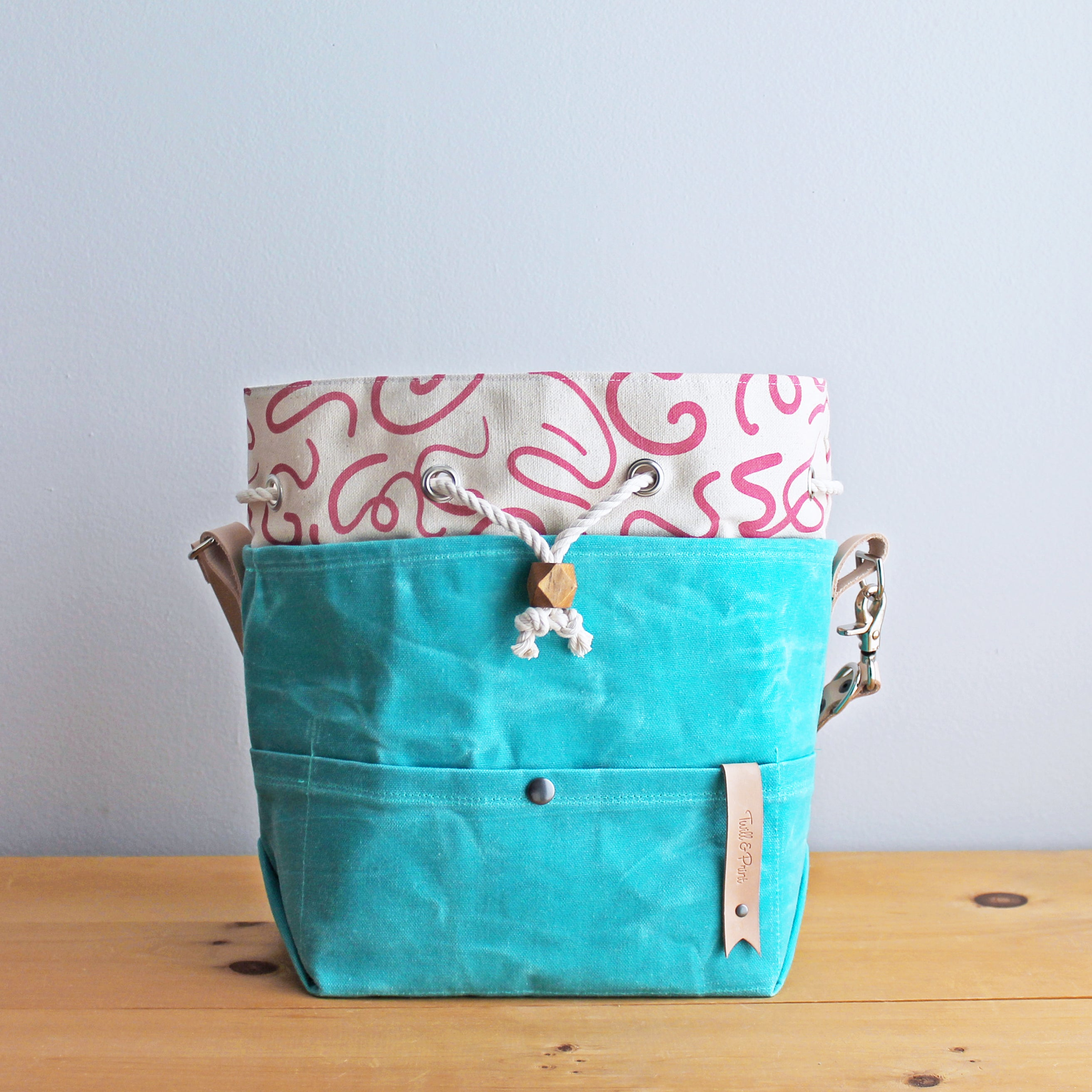 Custom Drawstring Project Bag *Mint Waxed Canvas*