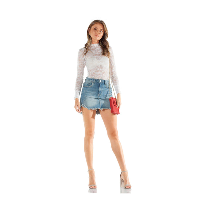 One Teaspoon Storm Boy Stretch Mini High Waist Denim Skirt