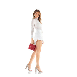 One Teaspoon Natural White Vanguard Mid-Rise Relaxed Denim Miniskirt