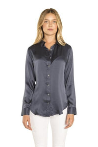 Dark Blue Silk Button Down