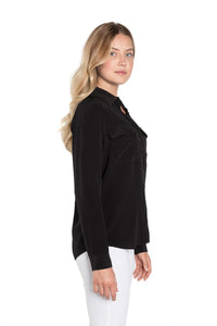 Silk Black Button Down