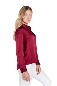 Silk Maroon Button Down