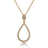 14K Open Face Drop Pave Diamond Pendant AJP1217