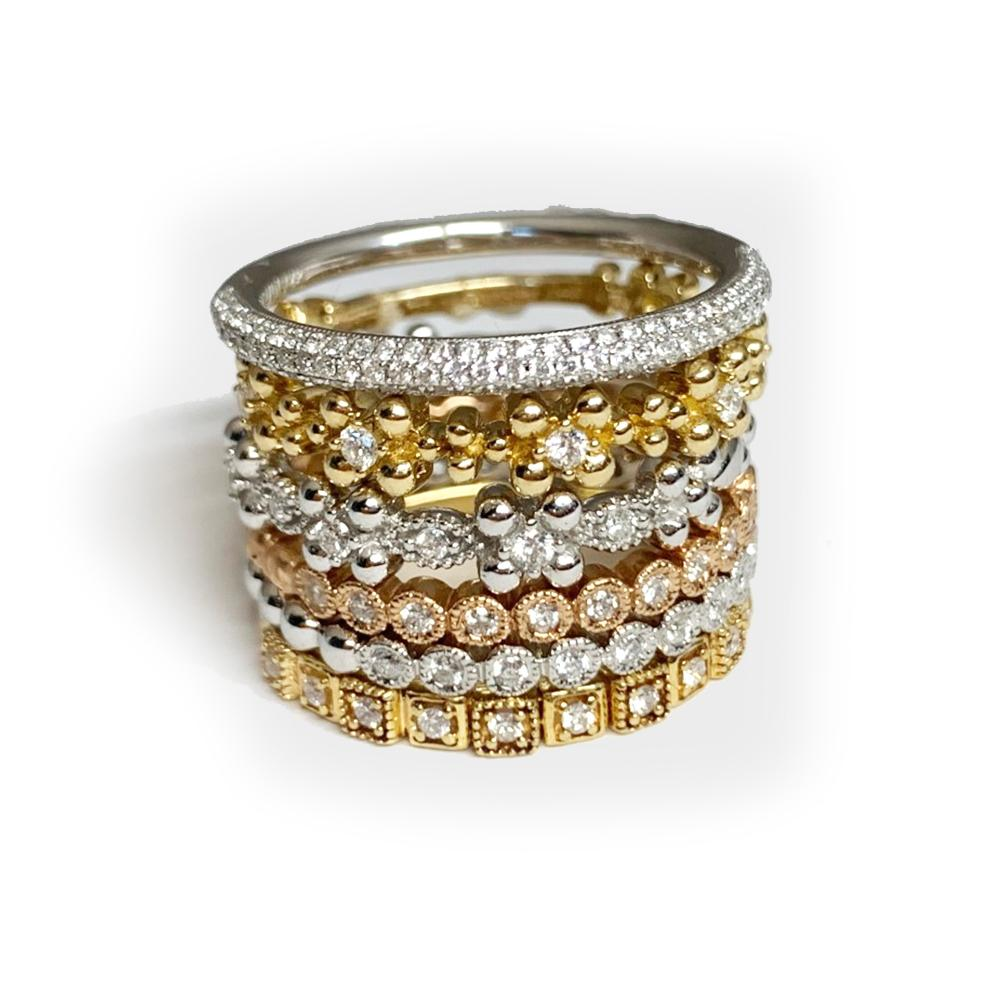 14K Beaded Gold Diamond Wedding Band Stack Ring R35332
